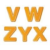 De brieven van het peperkoekalfabet van V aan X voor Kerstmis of het nieuwe ontwerp van de jaarvakantie, koekje stock illustratie