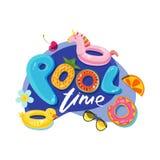 De brieven van de zwembadtijd Vectoretiket, sticker of drukontwerp Eenhoorn en de jonge geitjesspeelgoed van de eendvlotter Vecto Stock Foto