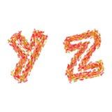 De brieven Y, Z van de herfst wordt gemaakt die gaat weg Stock Fotografie