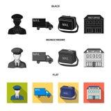De brievenbesteller in eenvormige, postmachine, zak voor correspondentie, postbureau Post en brievenbesteller vastgestelde inzame royalty-vrije illustratie
