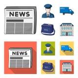 De brievenbesteller in eenvormige, postmachine, zak voor correspondentie, postbureau Post en brievenbesteller vastgestelde inzame stock illustratie