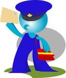 De brievenbesteller levert post in actie Stock Fotografie