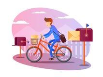 De brievenbesteller op fiets levert brieven royalty-vrije illustratie