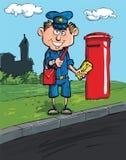 De brievenbesteller van het beeldverhaal door een brievenbus Royalty-vrije Stock Afbeelding