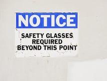 De brilbericht van de veiligheid bij bouwwerf Royalty-vrije Stock Foto's