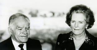 Yitzhak Shamir en Margaret Thatcher Stock Afbeeldingen