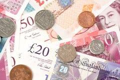 De Britse rekeningen van het Pondgeld van het Verenigd Koninkrijk in Verschillende waarde royalty-vrije stock afbeeldingen