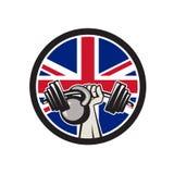 De Britse Unie Jack Flag Icon van Barbell Kettlebell van de Handlift Stock Afbeeldingen