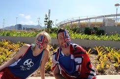 De Britse ventilators steunen Olympische kampioen Andy Murray van Groot-Brittannië alvorens de mensen ` s def. van Rio 2016 Olymp Royalty-vrije Stock Foto