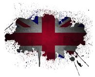 de Britse vlag grunge verf ploetert Stock Fotografie