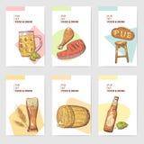 De Brochuremalplaatje van de bierbar Hand Getrokken Restaurantmenu met Voedsel en Drank De Affiche van het schetsbier, Banner, Bo royalty-vrije illustratie