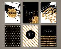 De brochures met borstel strijken gouden elementen royalty-vrije illustratie