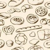 De broden en de gebakjes overhandigen getrokken tilable achtergrond Royalty-vrije Stock Afbeelding