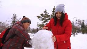 De broer en de zuster beeldhouwen sneeuwman in park stock videobeelden