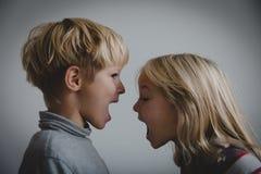 De broer en de zuster schreeuwen, concept rivaliteit, geschil, woede, meningsverschil stock foto
