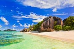 De Bron van het strand d'Argent in Seychellen Stock Foto