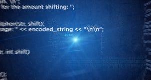 De broncode vliegende lijn geeft film 4K terug stock illustratie