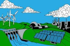 De Bronnen van de energiegeneratie vector illustratie