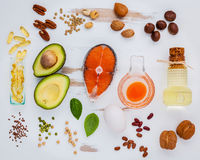 De bronnen van het selectievoedsel van Omega 3 Super voedsel hoog Omega 3 en Royalty-vrije Stock Afbeeldingen
