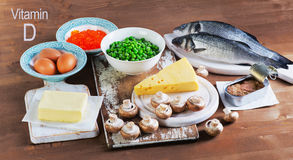 De bronnen van het voedsel van vitamine D Stock Afbeeldingen