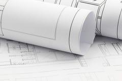 De broodjes en de plannen van de architect stock afbeelding