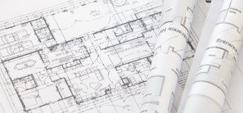 De broodjes en de plannen van de architect Royalty-vrije Stock Afbeeldingen