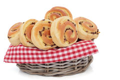 De Broodjes van de Brioche van de Chocoladeschilfer stock foto's