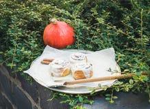 De broodjes van de kaneelpompoen met romig kaassuikerglazuur en een ronde pomp royalty-vrije stock foto's