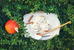 De broodjes van de kaneelpompoen met romig kaassuikerglazuur en rijpe ronde pu stock afbeeldingen