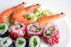 De broodjes van sushi met garnalen Royalty-vrije Stock Foto's