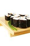 De broodjes van sushi met groene stammen Stock Afbeelding