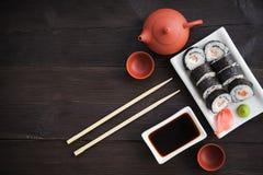 De broodjes van sushi met zalm Stock Foto