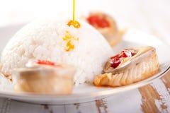 De broodjes van vissen met rijst stock foto