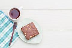 De brownie van de cakechocolade Stock Fotografie