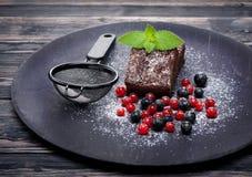 De brownie van de chocoladecake Royalty-vrije Stock Afbeeldingen