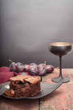 De brownie van het chocoladedessert Stock Afbeeldingen