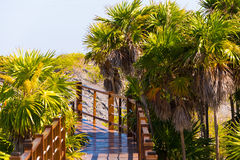 De brug aan het zandige Paradijs van strandplaya van het Largo Eiland Cayo, Cuba Close-up royalty-vrije stock afbeelding