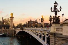 De brug Alexandre III, Parijs, Frankrijk Stock Foto