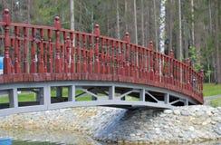 De brug door een vijver Stock Afbeeldingen