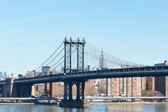 De Brug en de horizonmening van Manhattan van de Brug van Brooklyn Stock Afbeeldingen