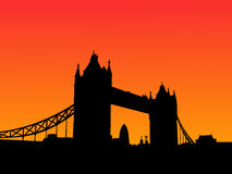 De Brug Londen van de toren bij zonsondergang Royalty-vrije Stock Afbeeldingen
