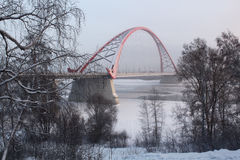 De brug over de Ob-rivier in Novosibirsk Royalty-vrije Stock Foto