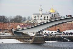 De brug over de Volkhov-Rivier royalty-vrije stock foto