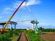 De brug over spoorweg stock foto