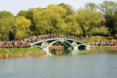 De brug in park Stock Foto