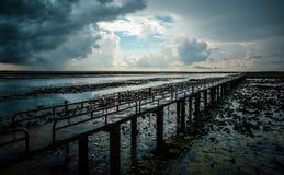De brug in regenachtige dag Royalty-vrije Stock Afbeeldingen