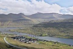 De brug tussen Streymoy en Eysturoy royalty-vrije stock afbeeldingen