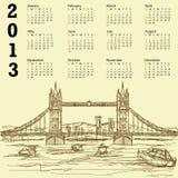 De brug uitstekende 2013 kalender van de toren Royalty-vrije Stock Foto's