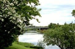 De brug van de aardweg in de afstand over de rivier stock afbeelding