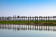 De brug van Amarapura, Myanmar royalty-vrije stock afbeeldingen